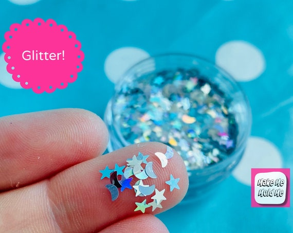Amazing Moon and Star Iridescent Glitter MM89