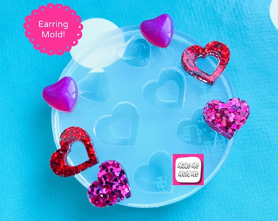 Deluxe 3 in 1 Silicone Triple Heart Stud Mold  - Earrings Resin Crafter Mould EM525