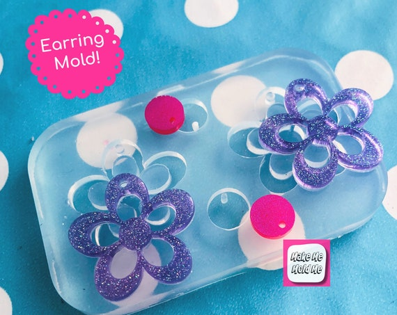 30mm Flat Flower Silicone Dangle Earring Mold - CharmEarring Dangle with Holes Statement EM434
