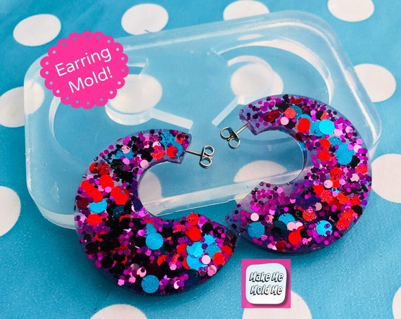 40mm Silicone Hoop Earring Mold - Resin Dangle Hoop Drop Mould EM461