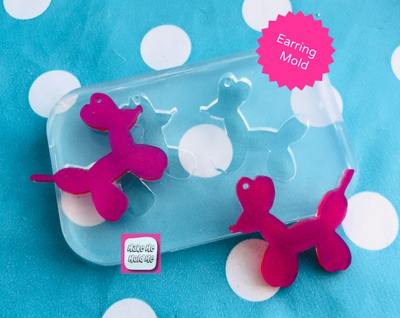 30mm Balloon Dog Silicone Dangle Earrings Mold EM426