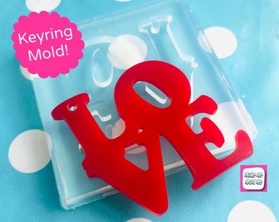 XL 50mm Love Word Silicone Keyring Mold - Resin Crafter PM53