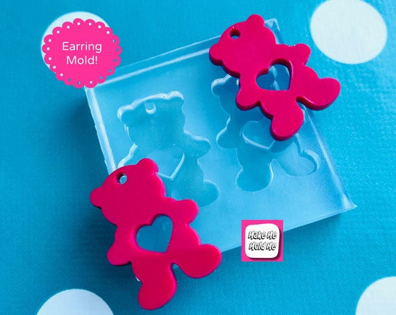 30mm Silicone Teddy Bear Earrings Mold - ResinValentines  EM526