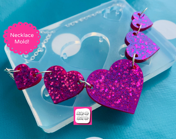 Heart Link Style  Necklace Silicone Mold - Resin Mould NM07