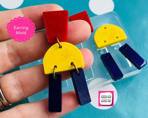 55mm Flat Earring Silicone Mold - Charm Earring Dangle with Holes Statement EM536