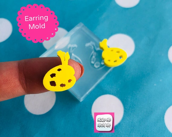 12mm Paint Palette Silicone Stud Earring Mold  EM473