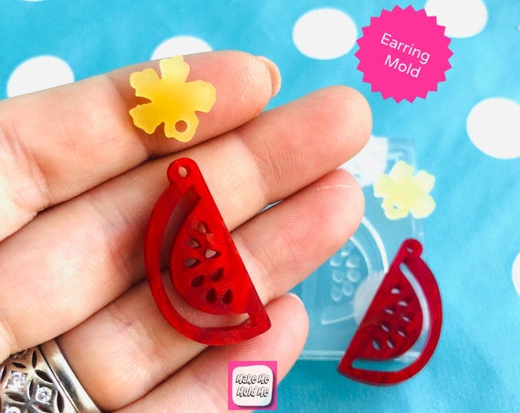 25 mm Watermelon Slice Dangle Earring Mold EM427