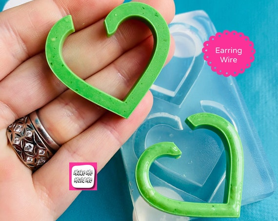 35mm  Silicone Heart Hoop Earring Mold  EM535