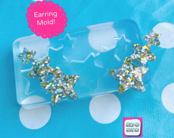 40mm Silicone Earring Star shape Stud Mold EM515