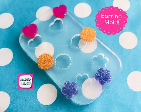 12mm 3 in 1 Flower Cookie Heart Stud Earring Silicone Mold - Resin Jewellery EM435