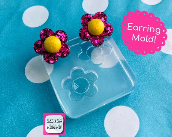 15mm Silicone Daisy Flower Stud Earring Mold -  Resin Earrings Mould EM498