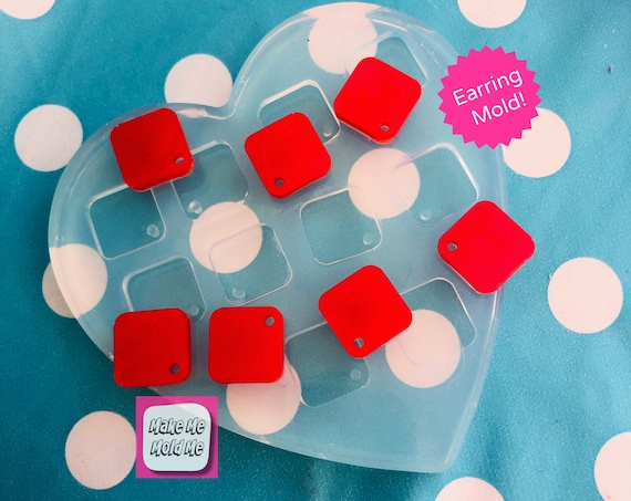Silicone Earring 15mm Square Charm Earring Top Mold EM429