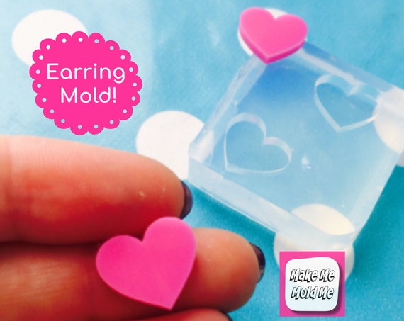 12mm Heart Silicone Earring Mold EM29