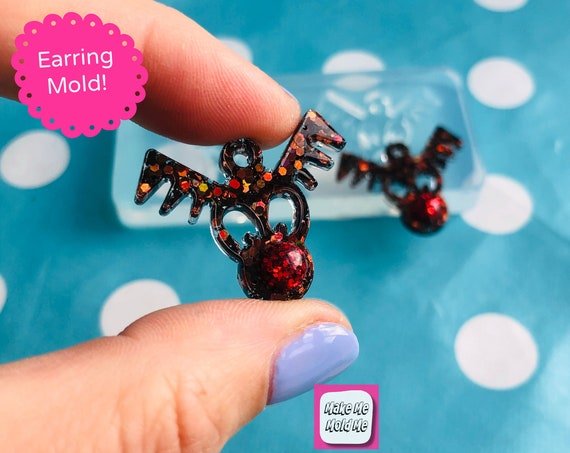 30mm Christmas Rudolph Reindeer Silicone Dangle Earring Mold EM505