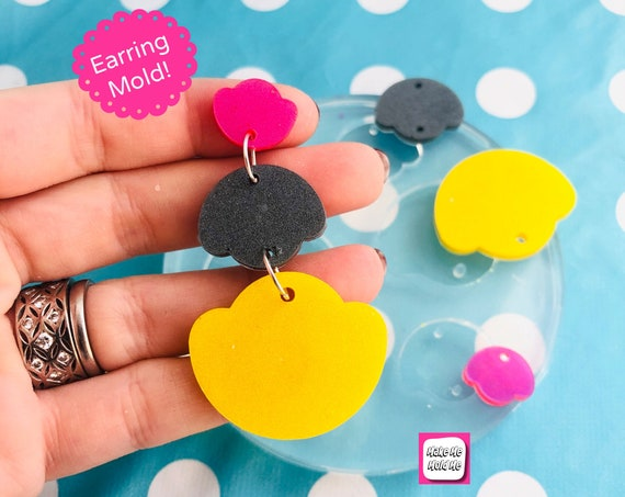 65mm Silicone Scallop Drop Earring Mold - Resin Moulds EM467