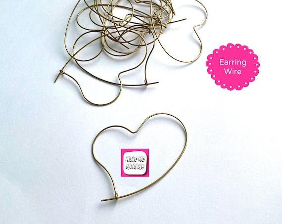 10 x 40mm Antique Brass Effect  Plated Heart Hoop Earring Wire Findings MM111