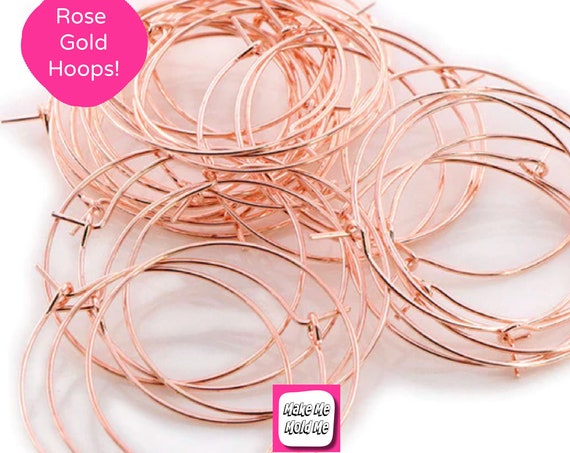 10 x 35mm Rose Gold Plated Hoop Earring Findings MM91