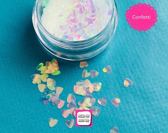 White Iridescent Heart Shaped Glitter Foil Confetti MM109