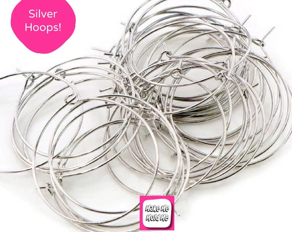 10 x 35mm Silver Plated Hoop Earring Findings MM92