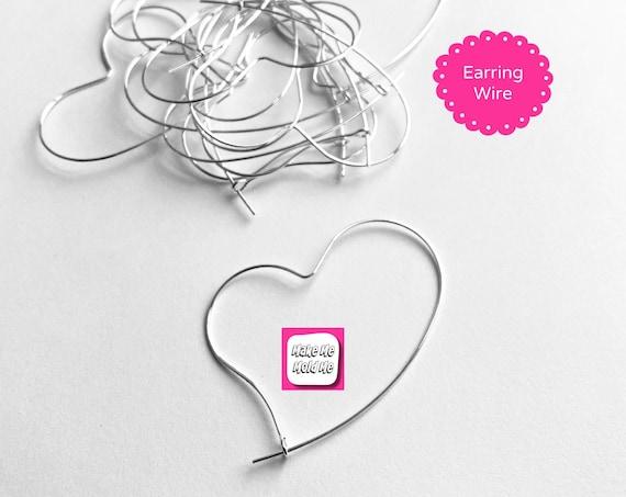 10 x 40mm Silver Plated Heart Hoop Earring Wire Findings MM110