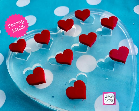 15mm 10 x Heart Silicone Earring Stud Mold EM403