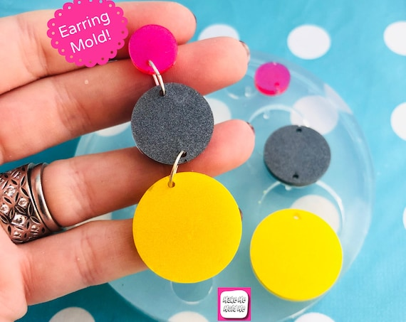 65mm Silicone Circle Drop Earring Mold - Resin Moulds EM464