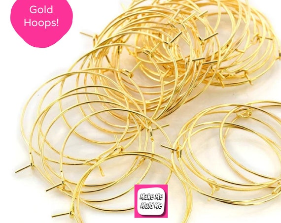 10 x 35mm Gold Plated Hoop Earring Findings MM90