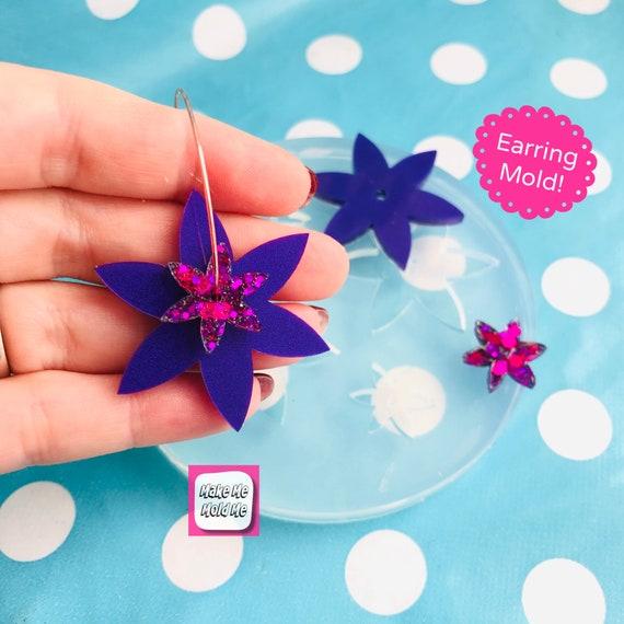 40mm Silicone Spinner Flower Earring Mold - Resin Moulds EM469