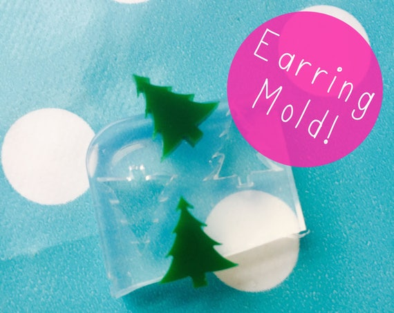 13mm Christmas Tree Earrings Silicone Stud Mold EM214