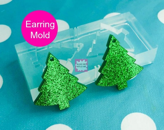 40mm Silicone Dangle Earring Mold Christmas Tree - EMEM395