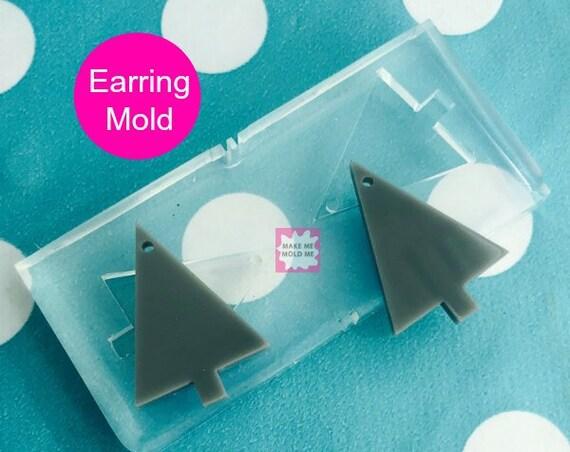 25mm Silicone Dangle Earring Mold Christmas Tree EM42