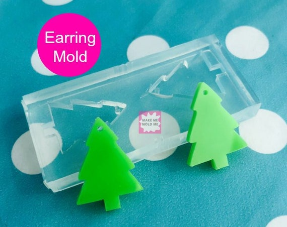 25mm Silicone Dangle Earring Mold Christmas Tree - Dangle Drop Statement Large Earrings Resin Crafter Mould EM43