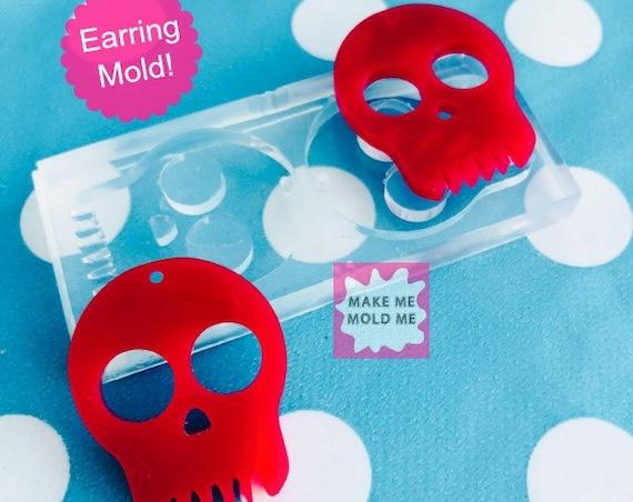 XL Silicone Earring Skull Dangle Mold   EM37