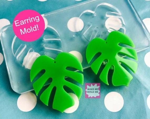 XL 50mm Monstera Leaf Silicone Dangle Earring Mold EM65