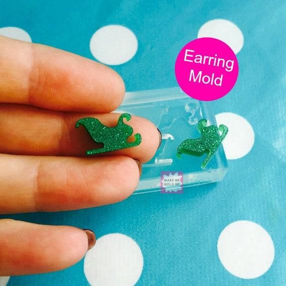 Santa Sleigh Earrings Silicone Stud Mold EM46