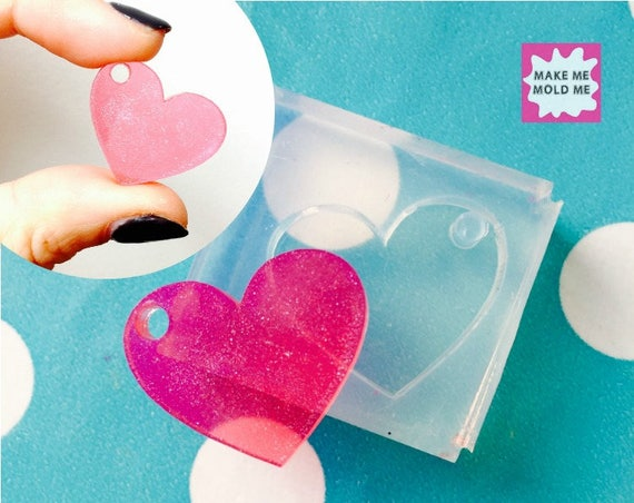 25mm Flat Heart Silicone Mold GM44