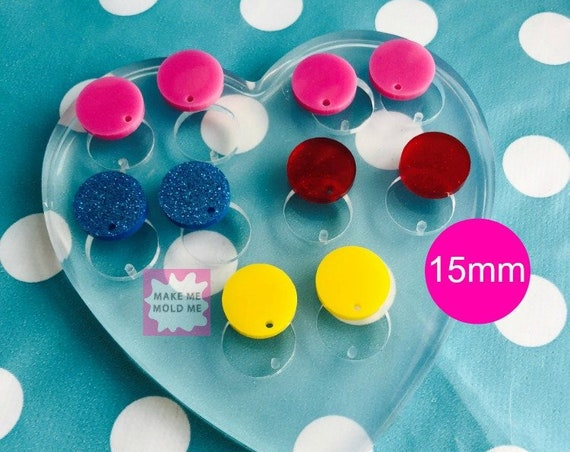 15mm Silicone Earring Circle Disc Mold EM204