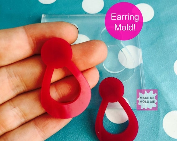 40mm Silicone Stud Earring Drop Loop Mold EM206
