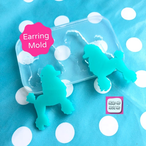 XL 45mm Silicone Poodle Dog Dangle Earring Mold EM335