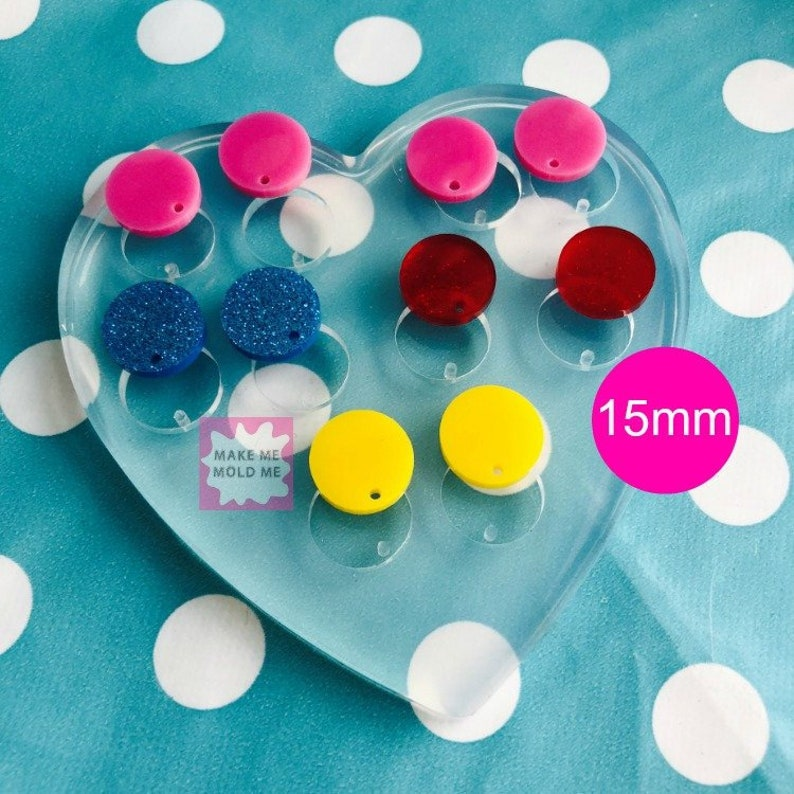 15mm Silicone Earring Circle Disc Mold - Earrings Resin Crafter Mould Round  EM204