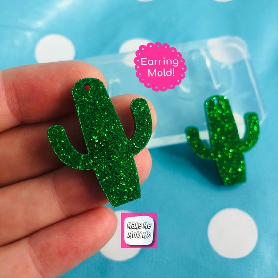 30mm Silicone Earring Cactus Cacti Mold EM61