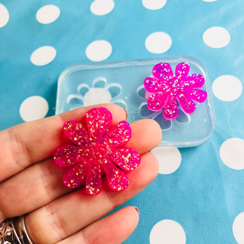 30mm Silicone Doodle Flower Earring Mold Resin Mould Crafter EM315