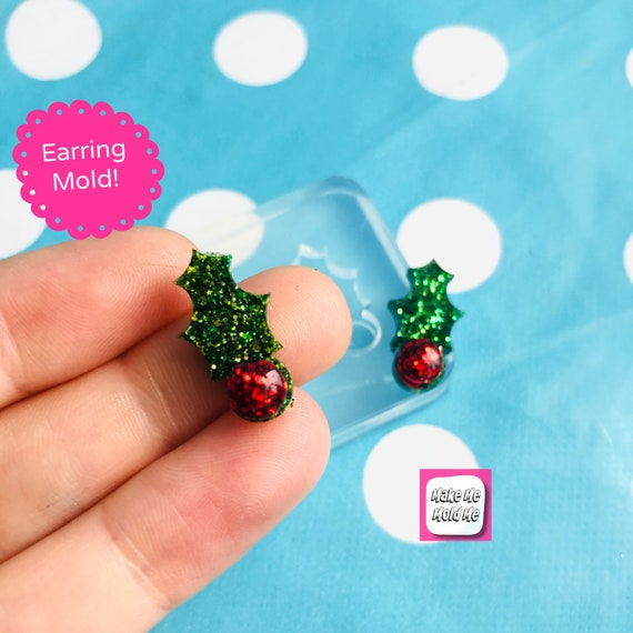 15mm Christmas Holly  Stud Earring Mold  EM504