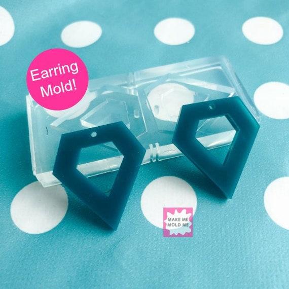 25mm Silicone Earring Diamond Rock Dangle Mold EM60