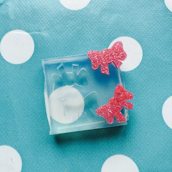 Silicone Earring Bow Shape Ribbon Stud Mold EM75