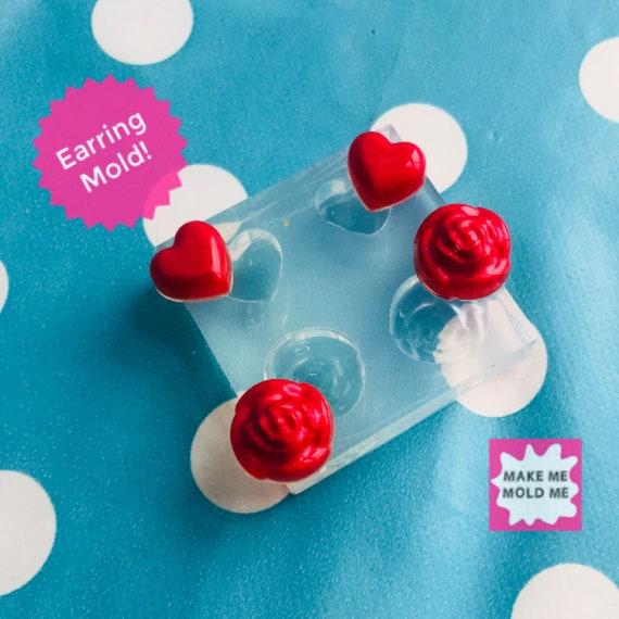 2 in 1 Heart Rose Stud Earring Mold EM309