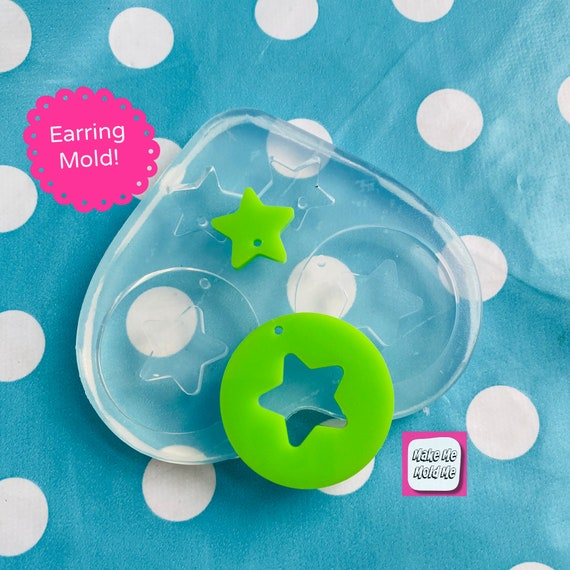 35mm Cut Out Star Dangle Earring Mold - Silicone Mold Craft Resin Earrings EM510