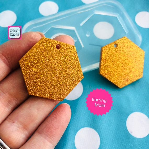 30mm Hexagon Earring Mold - Silicone Mold Craft Resin Earrings EM421