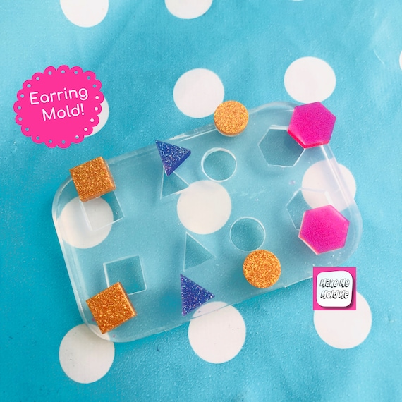 4 in 1 Circle Triangle Square Hexagon  Stud Earring Silicone Mold - Resin Jewellery EM436