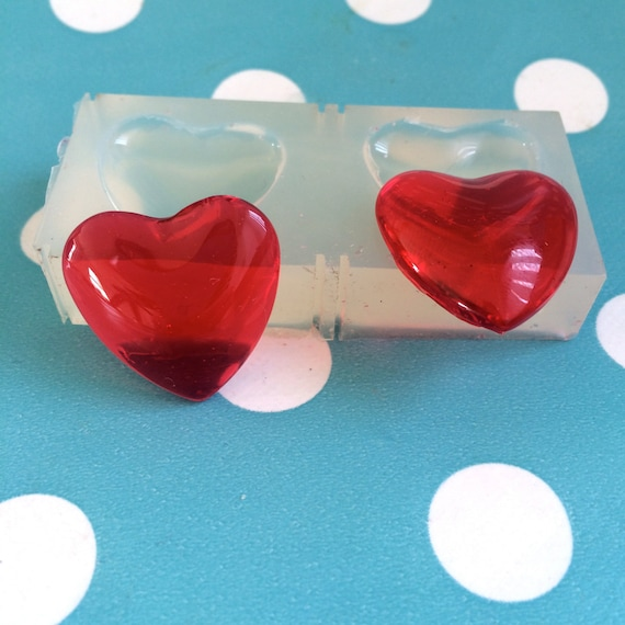 2 x Heart 25mm Silicone Mold Necklace Resin Pendant Jewellery GM68